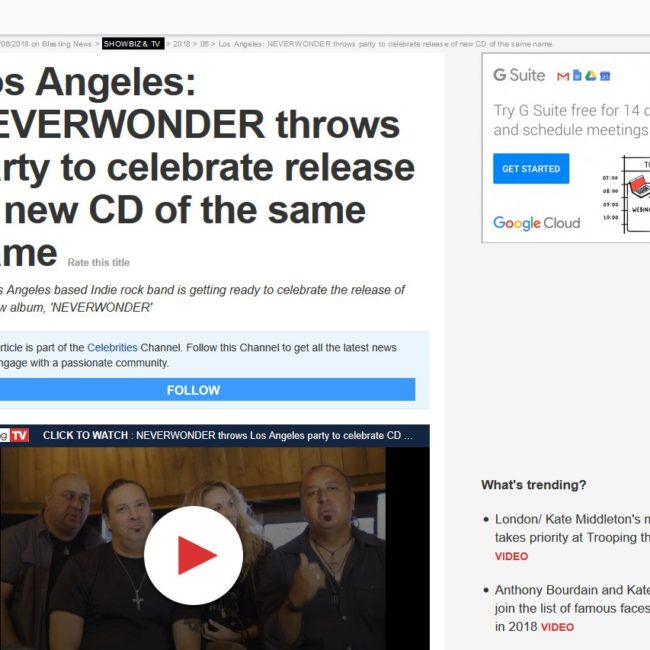 BlastingNews - Los Angeles: NEVERWONDER throws party to celebrate release of new CD of the same name