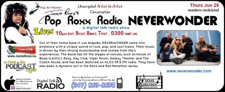 Pop Roxx Radio with Neverwonder on THU 28 JUN 2018