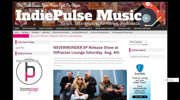 IndiePulse Music - NEVERWONDER EP Release Show at DiPiazza's