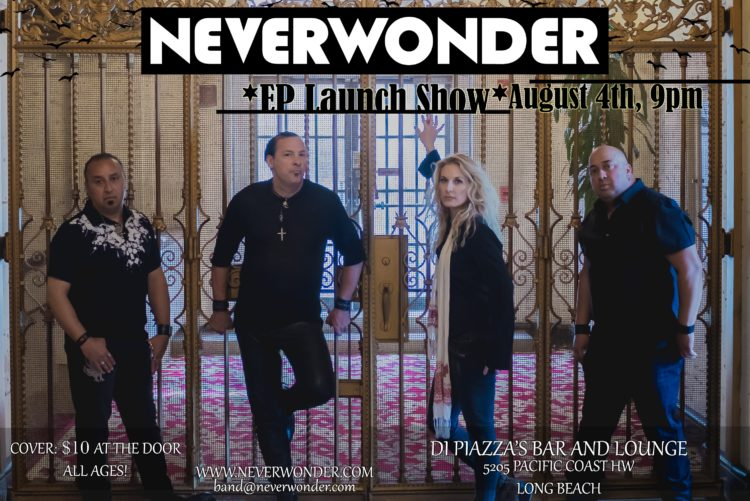 Flyer - Neverwonder at DiPiazza's on Saturday, 04 AUG 2018