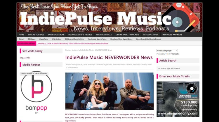 IndiePulse Music - NEVERWONDER News - 26 AUG 2018
