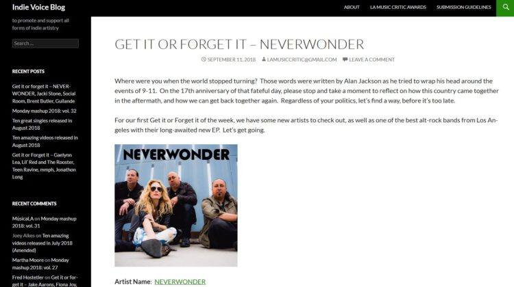 Indie Voice Blog - Review - NEVERWONDER - 11 SEP 2018