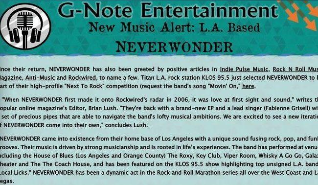 G-Note Entertainment Magazine: New Music Alert - NEVERWONDER - MAR 2019