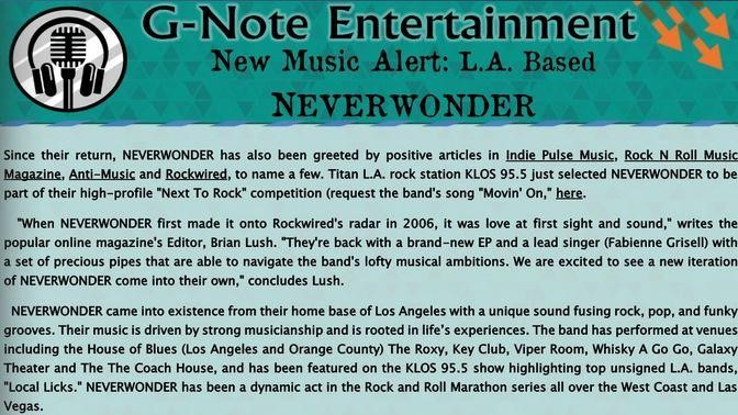 G-Note Entertainment Magazine: New Music Alert - NEVERWONDER - MAR 2019