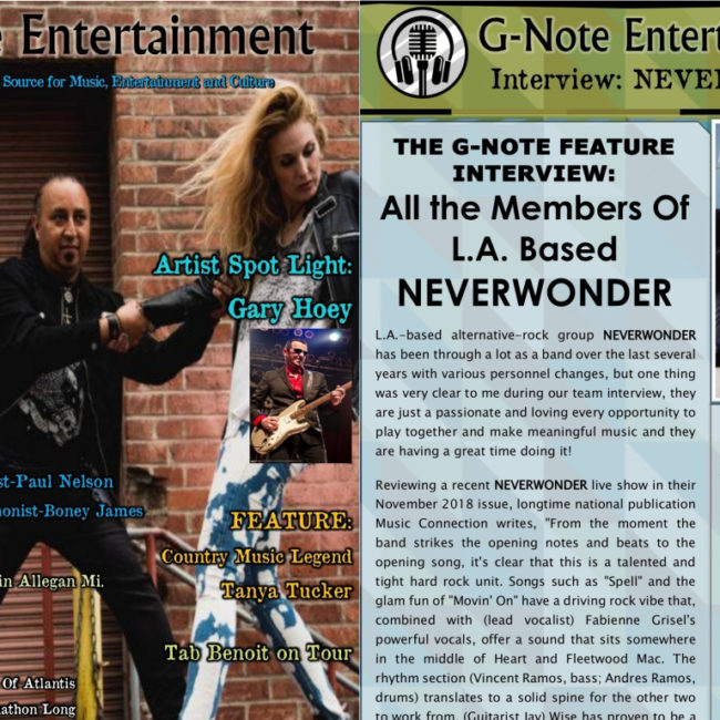 G-Note Entertainment Magazine: Cover + Feature - NEVERWONDER - APR 2019