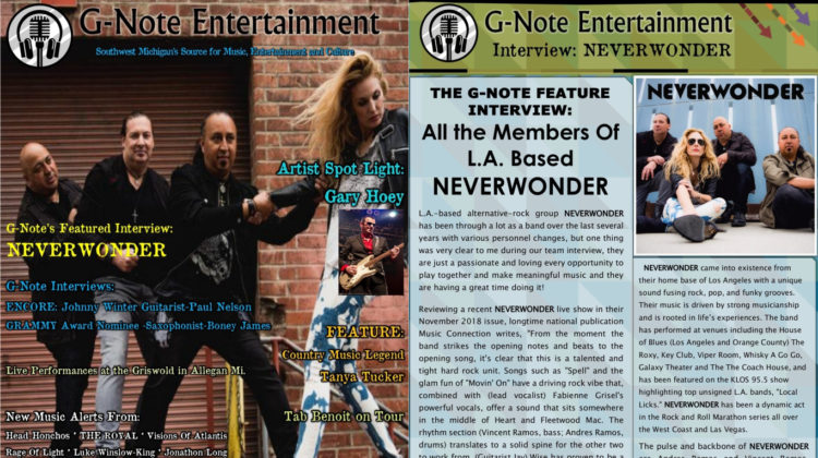 G-Note Entertainment Magazine: Cover + Feature - NEVERWONDER - APR 2019