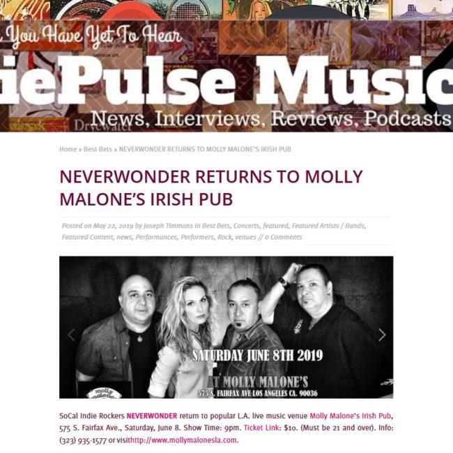 IdiePulse Music-NEVERWONDER-Molly Malone's Show-22 MAY 2019