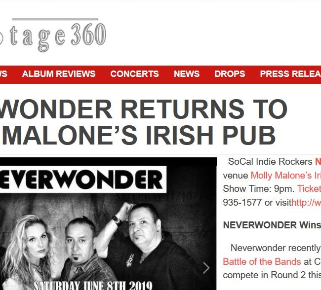 BackStage360-NEVERWONDER-Molly Malone's Show-23 MAY 2019