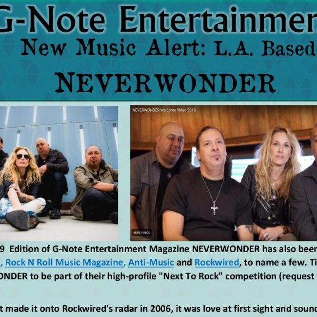 G-Note Entertainment Magazine: New Music Alert – NEVERWONDER - AUG 2019
