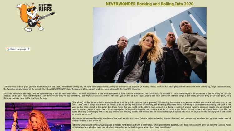 Riveting Riffs Magazine - NEVERWONDER Rocking and Rolling Into 2020 - 12 JAN 2020